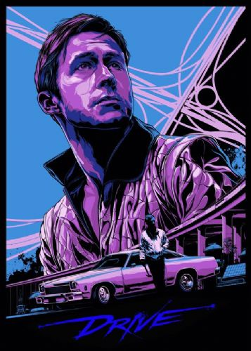2010's Movie - DRIVE ALTERNATIVE POSTER - BLUE canvas print - self adhesive poster - photo print